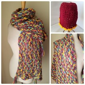Accessories - Handmade Knit Fashion Scarf Wrap & Matching Hat